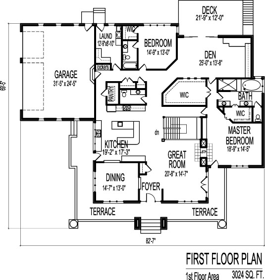 Brick Prairie Style House Plans Two Bedroom 2 Bath Single Floor 3 Car  Garage Basment 4