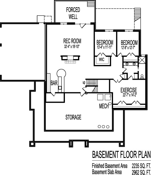 basement of Prairie Style House Plans Two Bedroom Single Floor 3 Car Garage Chicago Peoria Springfield Illinois Rockford Champaign Bloomington Illinois Aurora Joliet Naperville Illinois Elgin Waukegan