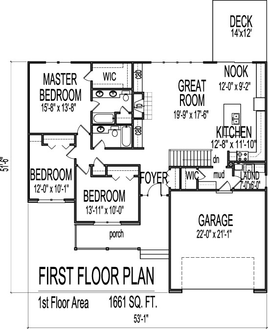Simple house floor plans 3 bedroom 1 story with basement for Three bedroom ranch floor plans