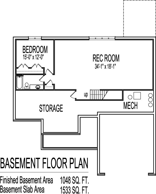 Simple house floor plans 3 bedroom 1 story with basement for Basement floor plans for ranch style homes