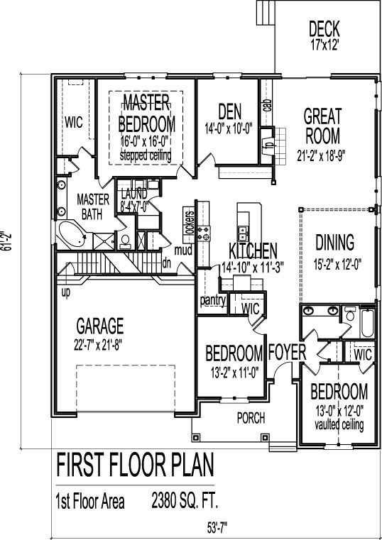 2500 SF Brick Ranch Floor Plans With Basement 1 Level 3 Bed Chicago Peoria  Springfield Illinois