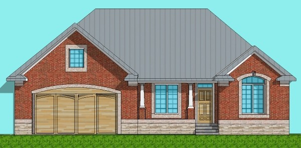 ... Large Brick Ranch 3 BR 1 Storey Home Design Blueprints Chicago Peoria  Springfield Illinois IL Rockford ...
