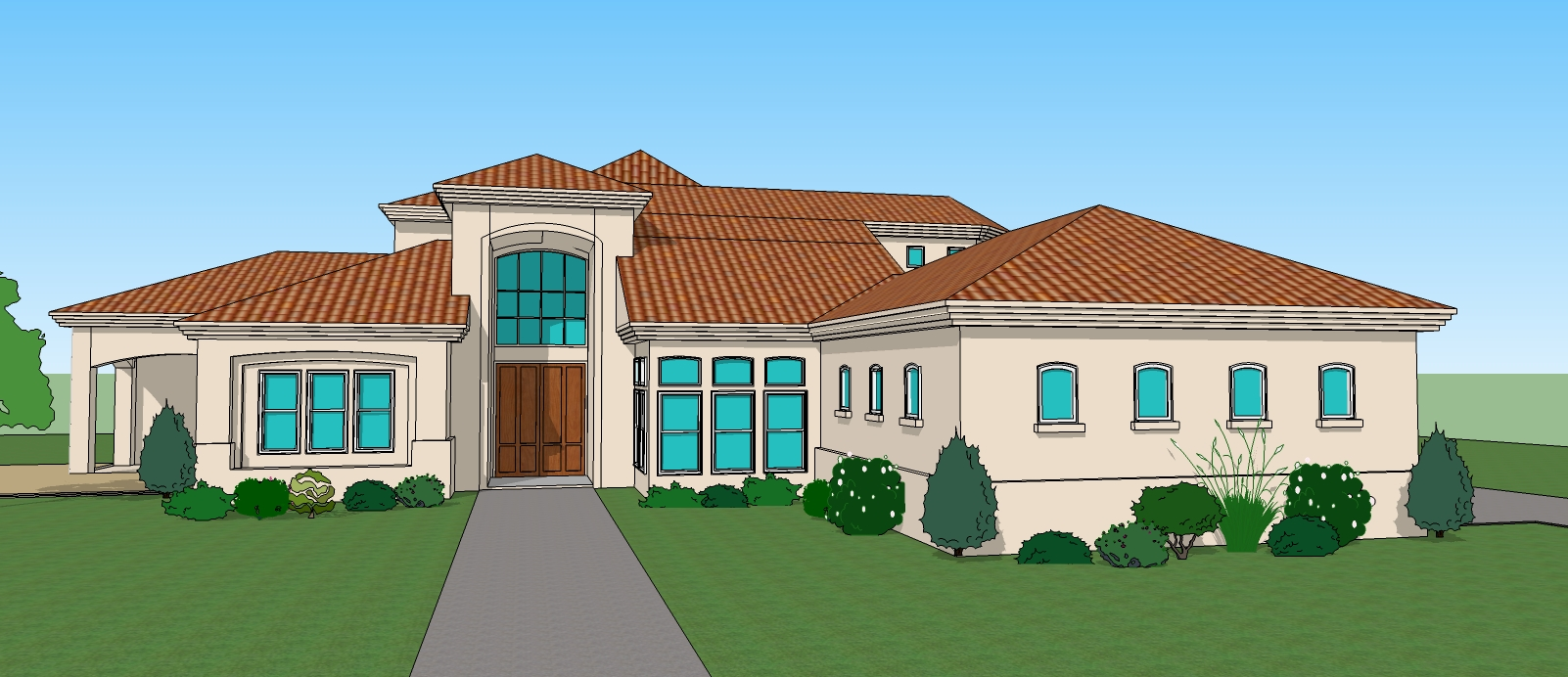 Simple 3d 3 bedroom house plans and 3d view house drawings for Two story house drawing