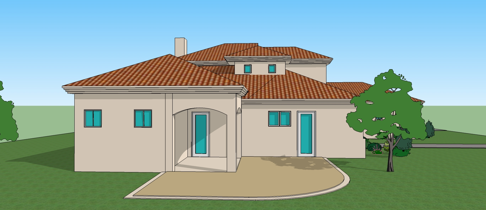 Simple 3d 3 bedroom house plans and 3d view house drawings for Small house design drawing