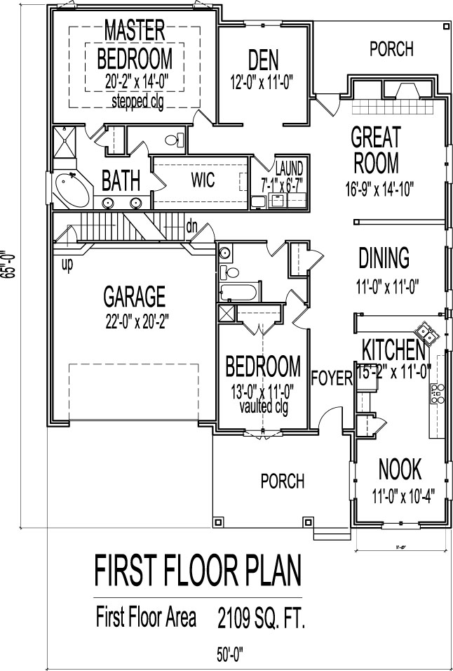 Small Brick House Floor Plans Drawings with Garage 2 Bedroom 1 Story