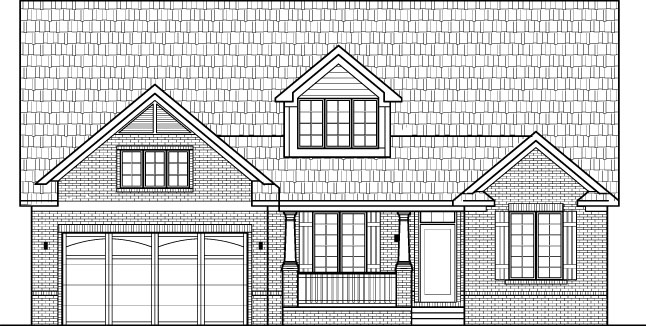 Small brick house floor plans drawings with garage 2 for Two story house drawing