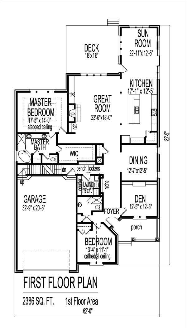 2 Bedroom House Plans With Open Floor Plan Bungalow With Attic Home