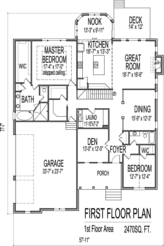 Simple One Story 2 Bedroom House Floor Plans Design