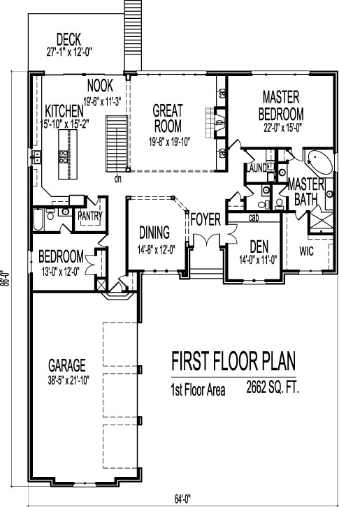 Stone cottage ranch house floor plans with 2 car garage 2 for 2 bedroom 2 bath ranch floor plans