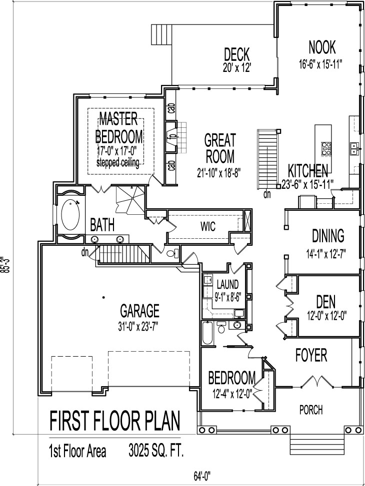 House Drawings of Blueprints 2 Bedroom Home Floor Plan Single Story – 2 Story 3 Car Garage House Plans
