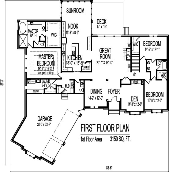 3 car angled garage house floor plans 3 bedroom single for Single story floor plans with 3 car garage