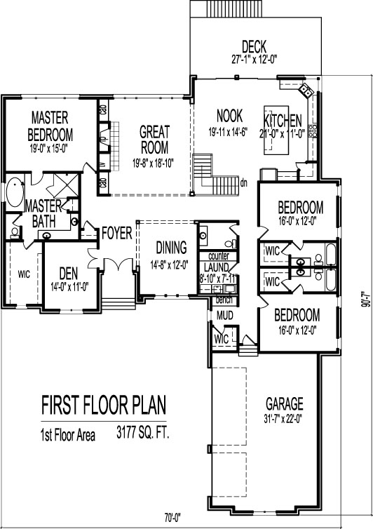 3 bedroom house designs and floor plans with 3 car garage for One level house plans with 3 car garage