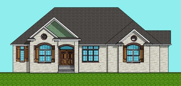Stone 3200 SF Architect Home Plan Design 1 Level 3 Bedroom 3 Bath Basement 3 Car Garage Chicago Peoria Springfield Illinois Rockford Champaign Bloomington Illinois Aurora Joliet Naperville Illinois Elgin Waukegan