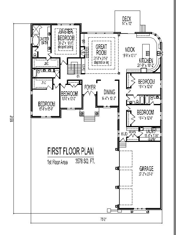 Single story house design tuscan house floor plans 4 and 5 for One story 4 bedroom house floor plans