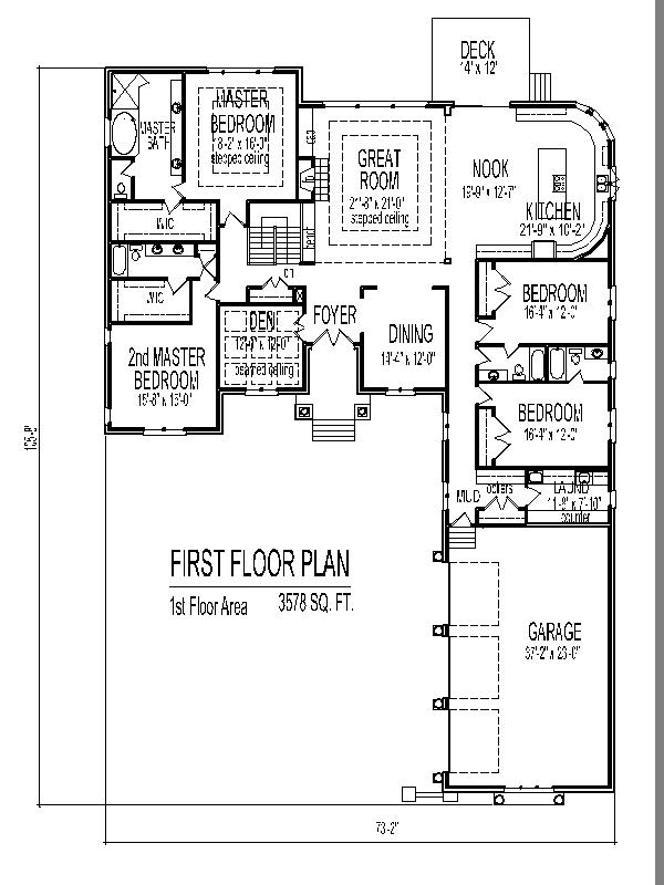 Single story house design tuscan house floor plans 4 and 5 for Four bedroom single story house plans