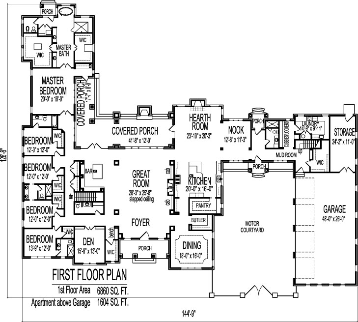 8000 square foot house floor plans large 6 six bedroom for Large 1 story house plans