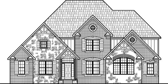 Tudor House Plans Stone Four Bedroom Five Bath 3 Car Garge w/ Basement Chicago Peoria Springfield Illinois Rockford Champaign Bloomington Illinois Aurora Joliet Naperville Illinois Elgin Waukegan