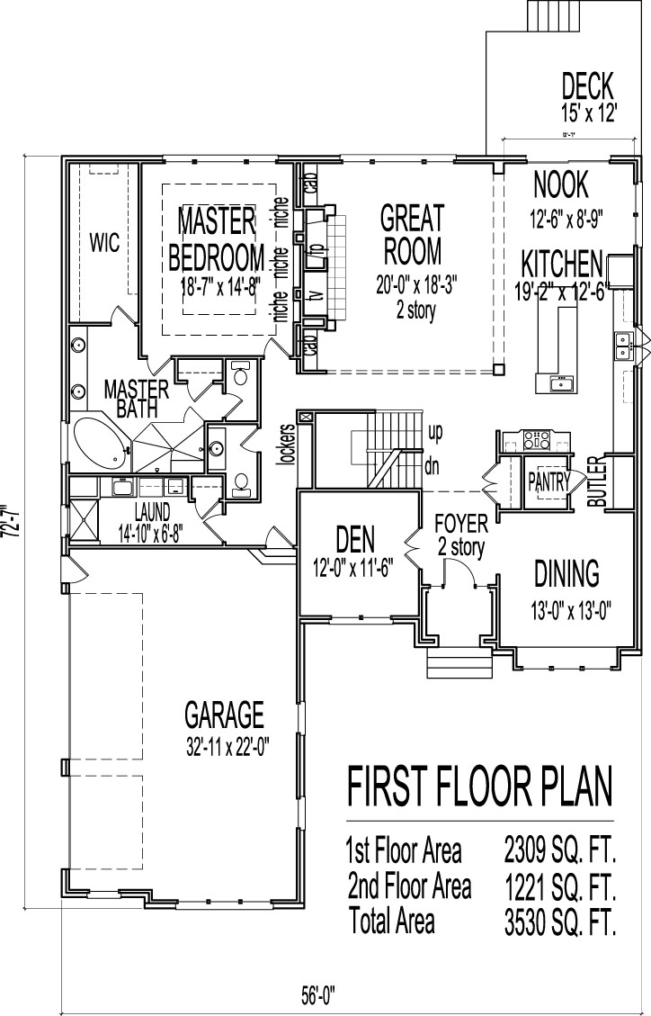 House drawings 5 bedroom 2 story house floor plans with for Four bedroom house plans with basement