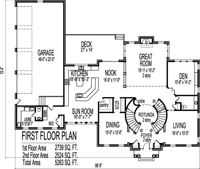 2 Story House Floor Plans Blueprint 4 Bedroom 4 Car Garage