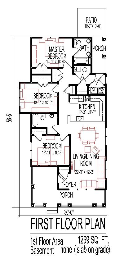 Small 3 bedroom house floor plans design slab on grade for Small house plans with master bedroom on first floor