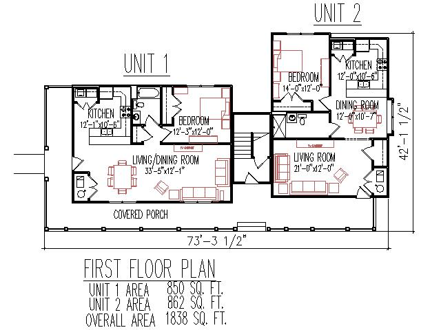 Duplex plans 3 unit 2 floors 3 bedroom 3 bath front porch for Double bedroom independent house plans