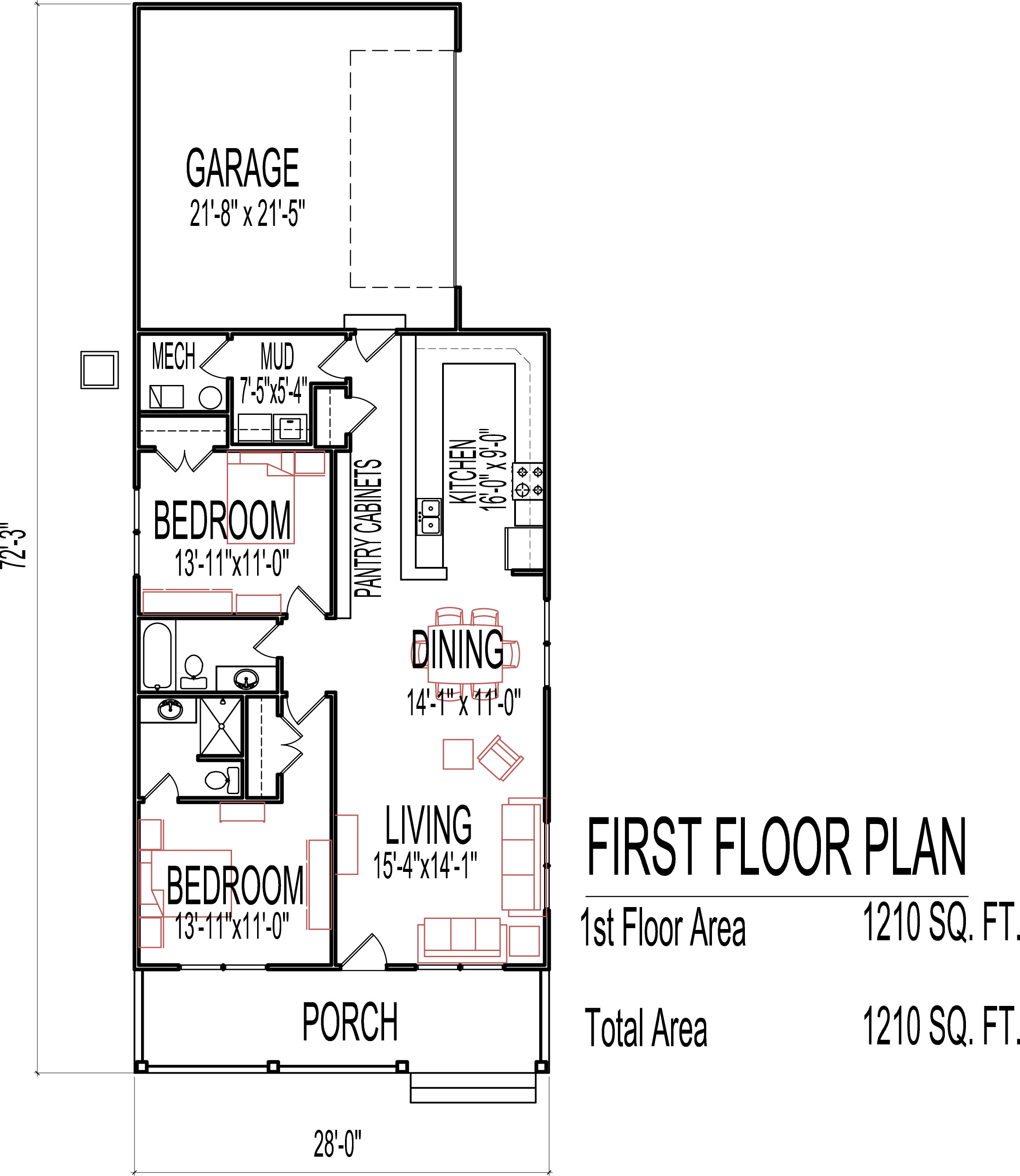 small low cost economical 2 bedroom 2 bath 1200 sq ft single story house floor plans