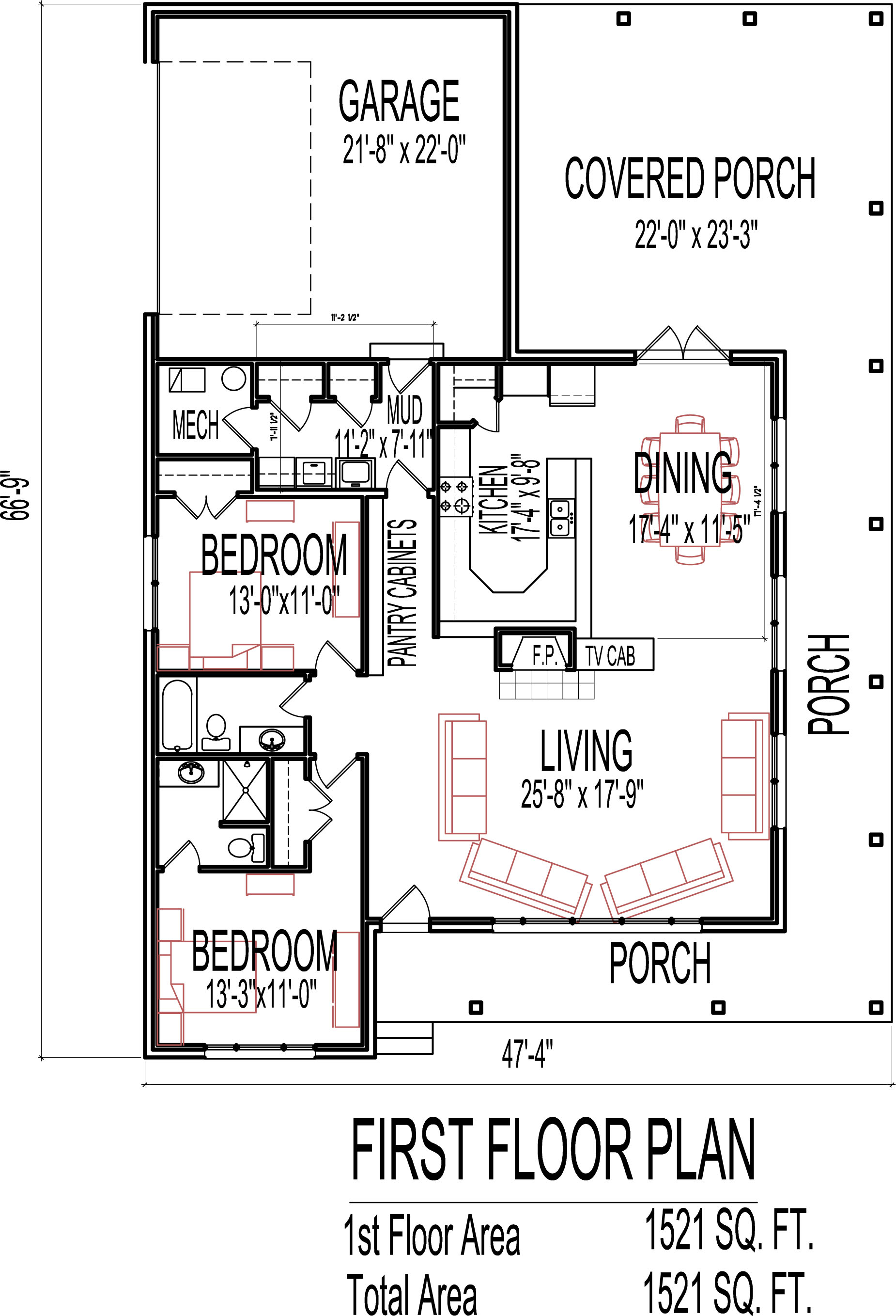 Stone Cottage House Floor Plans 2 Bedroom Single Story ... on