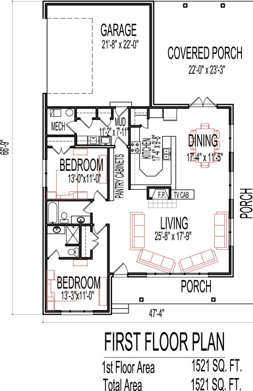 Stone Cottage House Floor Plans 2 Bedroom Single Story