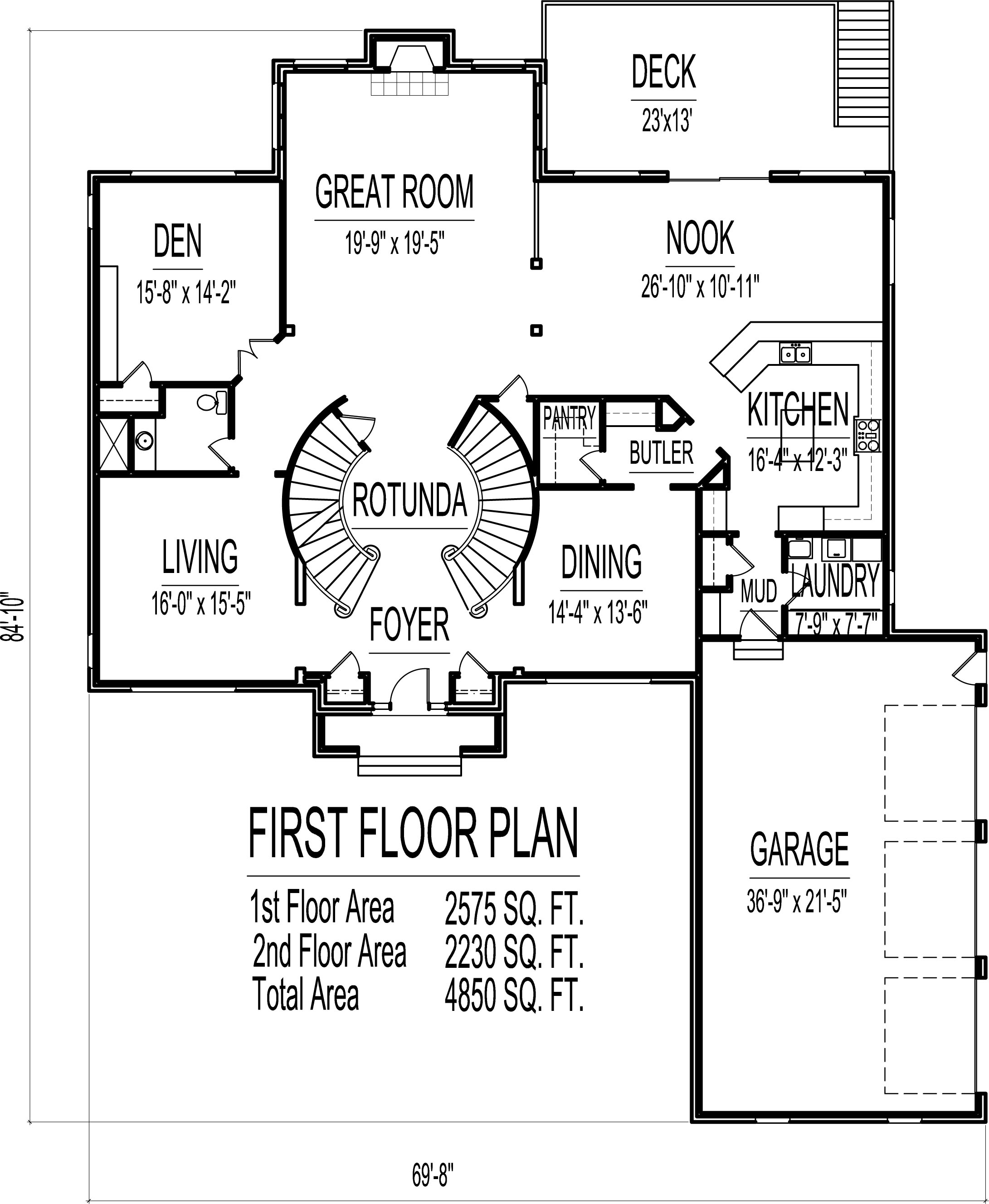4500 square foot house floor plans 5 bedroom 2 story for Dual staircase house plans