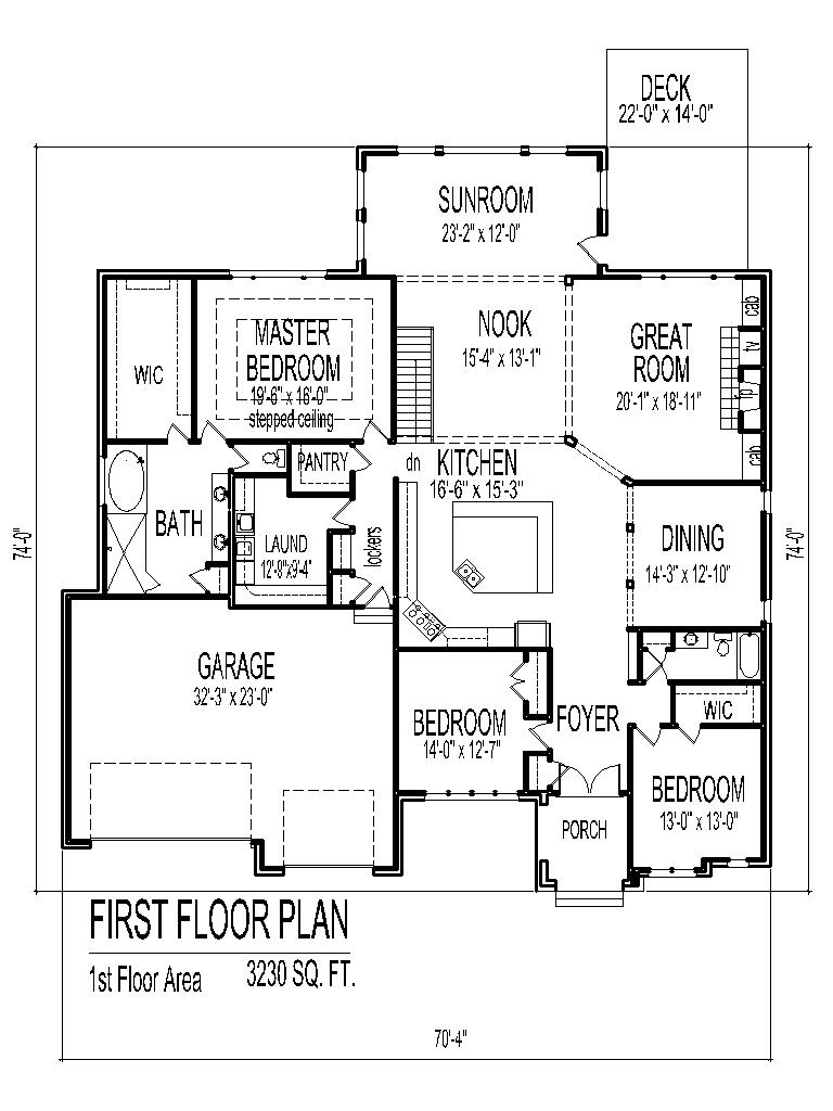 Tuscan house floor plans single story 3 bedroom 2 bath 2 for Bathroom house plans