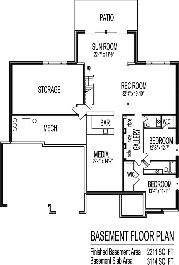 Tuscan house floor plans single story 3 bedroom 2 bath 2 House plans with 2 bedrooms in basement
