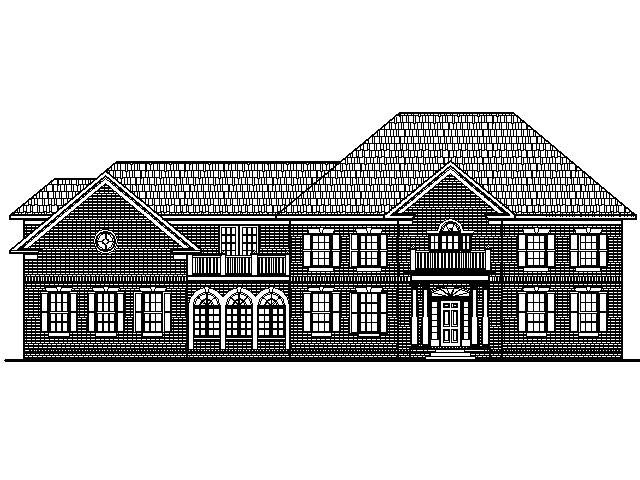 Colonial Home Plans Circular Stair 5500 SF 2 Story 5 BR 6 Bath 4 Car Garage Basement Chicago Peoria Springfield Illinois Rockford Champaign Bloomington Illinois Aurora Joliet Naperville Illinois Elgin Waukegan