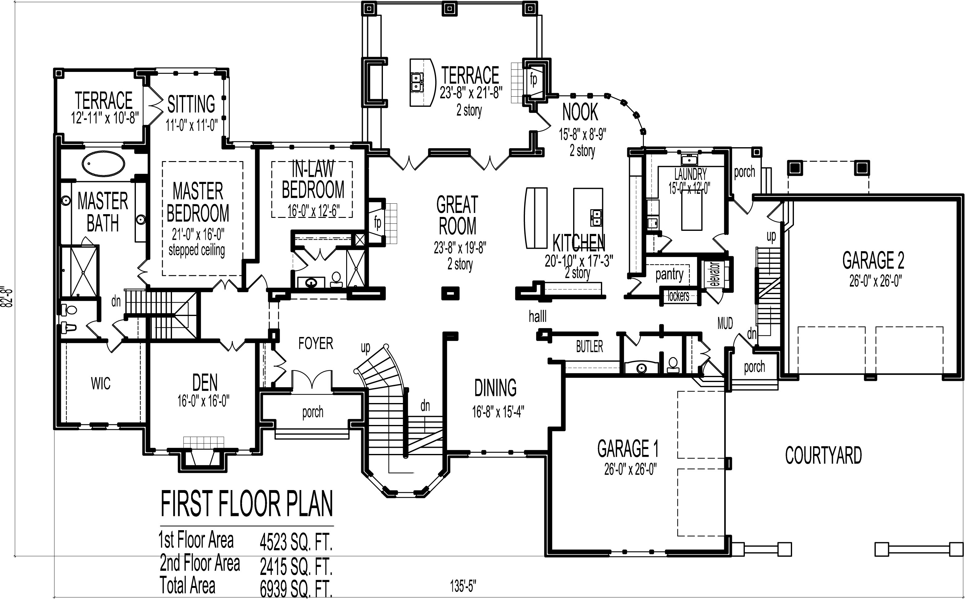 Mansion house floor plans blueprints 6 bedroom 2 story for Large house plans