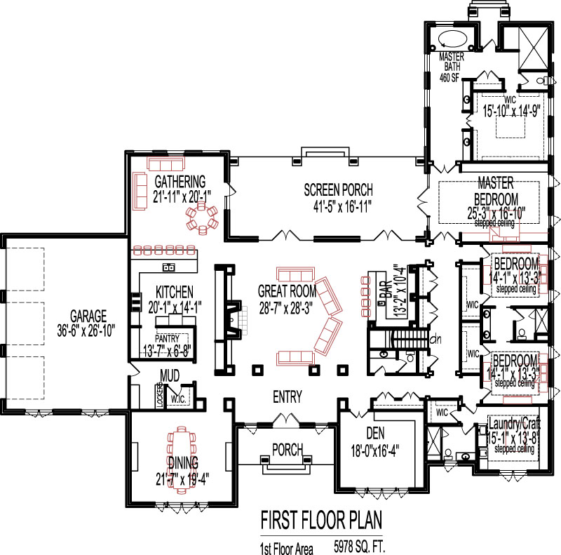 5 bedroom house plans open floor plan design 6000 sq ft for Floor plans under 150 000