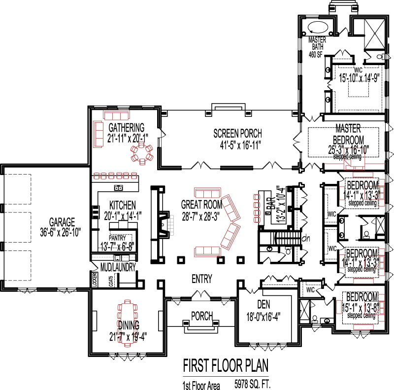 5 bedroom house plans open floor plan design 6000 sq ft for 1 5 house plans