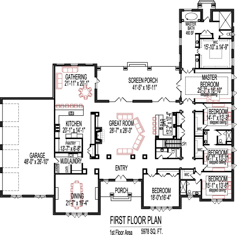 5 bedroom house plans open floor plan design 6000 sq ft for 6000 square foot house plans