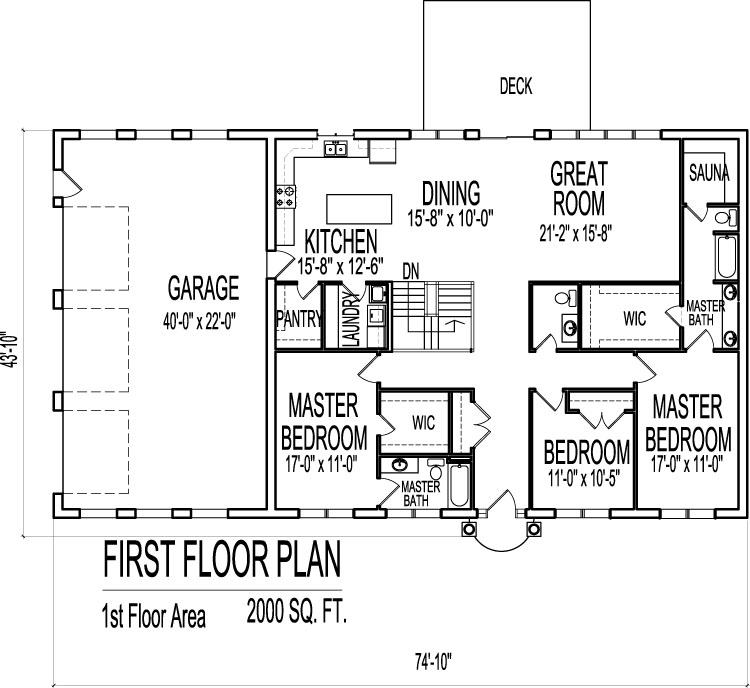 2000 Sq Ft House Plans 3 Bedroom Single Floor One Story Designs - Floor Plans 2000 Square Feet