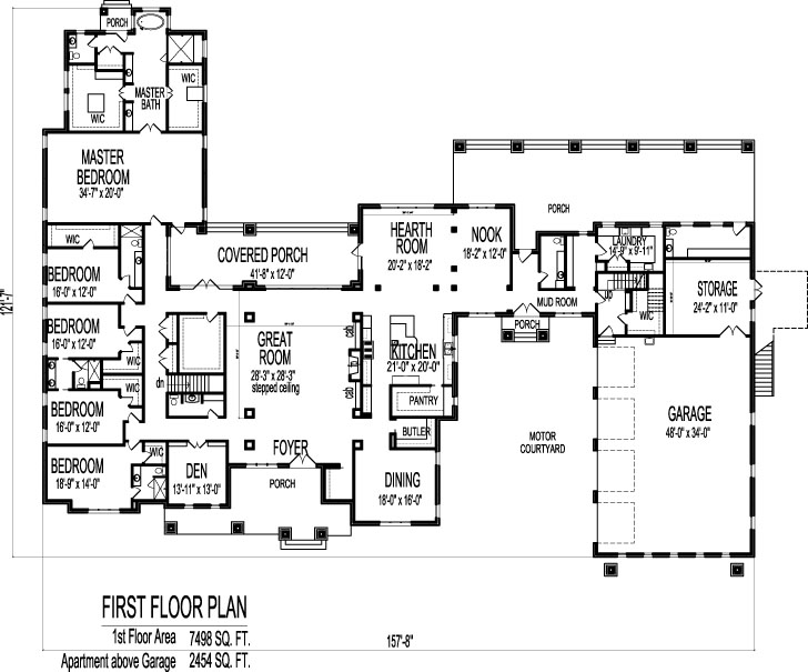Large 6 bedroom bungalow 10000 sf one storey dream house for 6 bedroom house floor plans