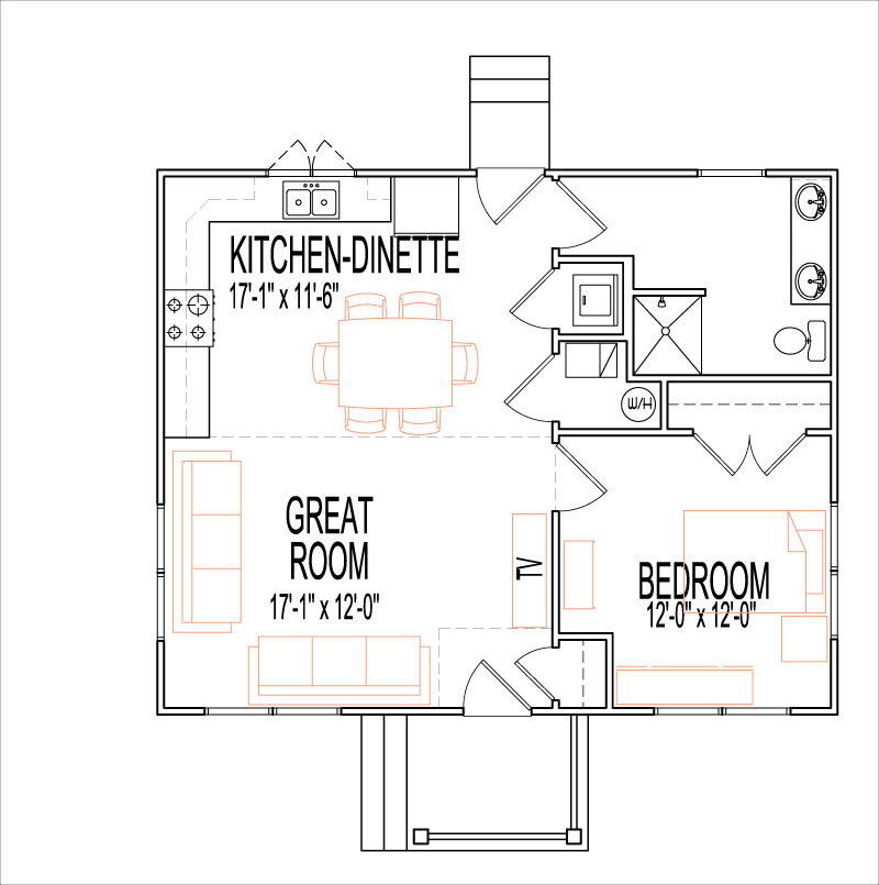 Rustic craftsman house floor plans 1 story 1 bedroom 700 sq ft for I bedroom house plans