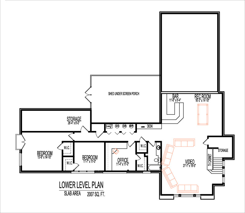 4000 Sq Ft House Floor Plans Split Level 5 Bedroom Design Bi ... Ranch House Plans Square Foot Bedroom Bath on